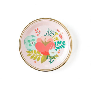 "Brighten your soiree's h d'oeuvres table with these beautiful floral plates. Whether your celebration is an afternoon tea in the garden or upscale brunch during the dead of winter, you can in enjoy elegant and bright florals with these party plates with gold foil accents.  Pair these paper plates with the plaid garden party 9"" plates and polka dot garden party napkins to create a pretty place setting to create an elegant shower tablescape.  • 7"" Circle Paper Plates  • 8 Plates per Package  • Gold Foil Accen"