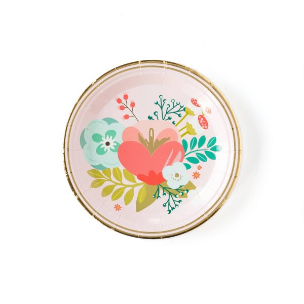 Brighten your soiree's h d'oeuvres table with these beautiful floral plates. Whether your celebration is an afternoon tea in the garden or upscale brunch during the dead of winter, you can in enjoy elegant and bright florals with these party plates with gold foil accents.  Pair these paper plates with the plaid garden party 9