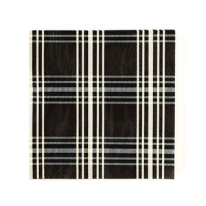 "A classic staple, this black plaid cocktail napkin will combine with most any plates for a splendid tablescape. Your impeccable taste will show when your guests dab their mouth with this beautiful cocktail napkin.  • 5"" x 5"" Folded Size • 25 Napkins per Pack"
