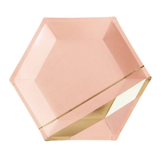 Inset with gold stripes on elegant hexagon, make your guests blush while you shine.   Colors: Peach blush, gold foil  Paper plates Approx. 10.5