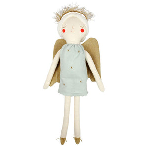 "Our beautiful angel doll, Grace, is an adorable gift for a little one to receive at Christmas. Lovingly crafted from soft knitted organic cotton with sweet stitched features.   Large Knitted organic cotton Stitched features Gold halo detail Size: 8 1/2""  x 21""  x 3"" (approx.)"