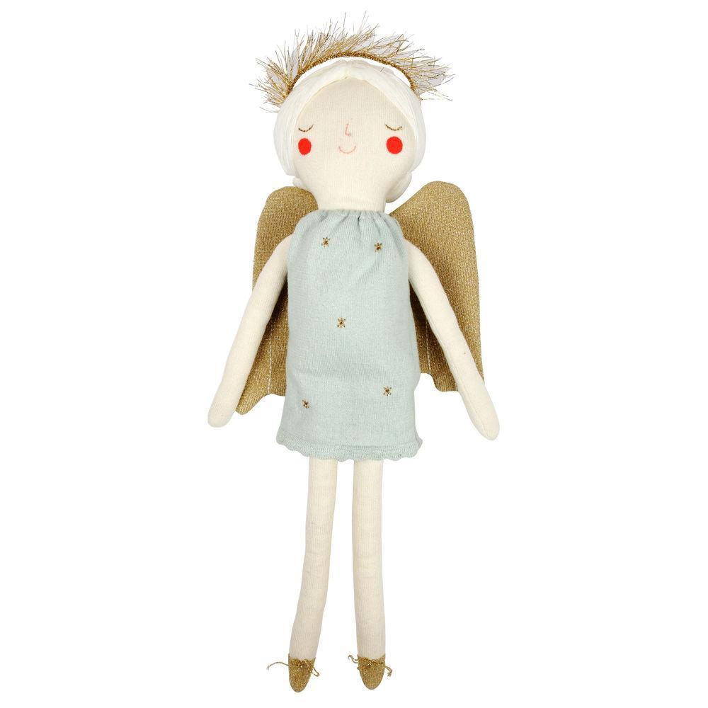 Our beautiful angel doll, Grace, is an adorable gift for a little one to receive at Christmas. Lovingly crafted from soft knitted organic cotton with sweet stitched features.   Large Knitted organic cotton Stitched features Gold halo detail Size: 8 1/2