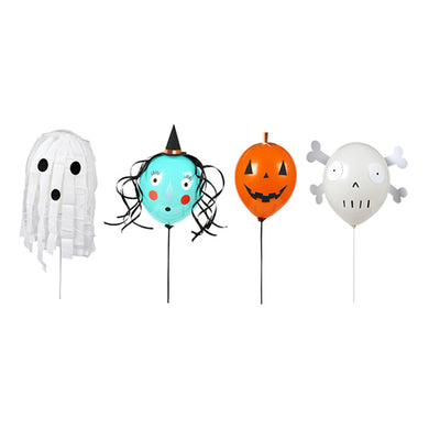 Combine decorating your party space with a fun craft activity this Halloween, with our spooky balloon kit! Pack of 8 balloons  4 wands Self-adhesive decorative pieces to make 4 characters (witch, ghost,pumpkin and skull) Rose gold foil detail