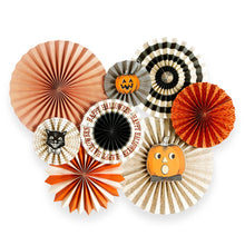 "No Halloween Party is complete without these wonderful party fans!   Includes all 8 fans pictured. 2 - 17"", 2 - 14"", 2 - 11"" and 2 - 8"" fans with 3 fan face-plates."