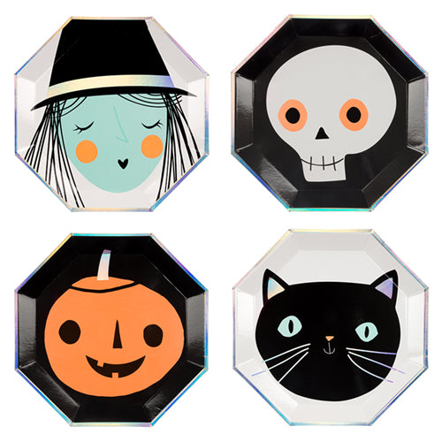 Add a bit of fun and fear factor to your table this Halloween with our brilliant paper partyware! Large Pack of 8 in 4 designs Neon print & silver holographic foil detail