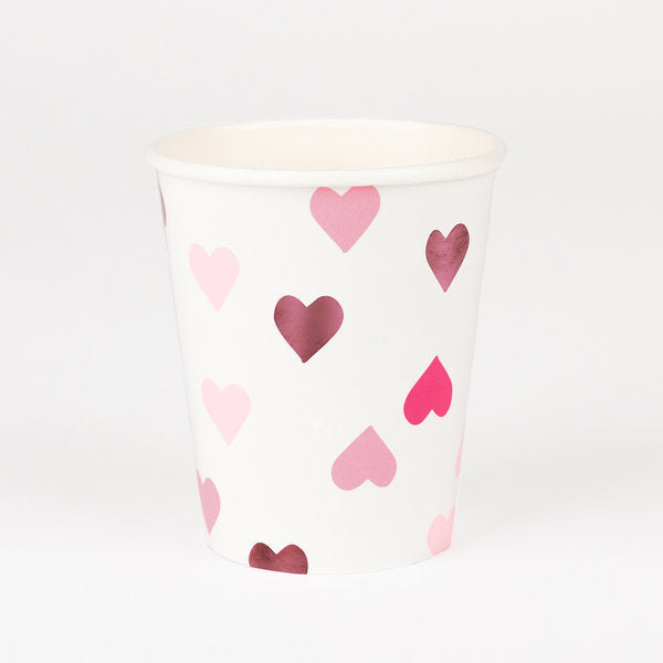Pink heart paper cups, designed by My Little Day.  Perfect for a romantic decoration on Valentine's Day! Also great for a Princess or Fairy-themed birthday party, a baby shower, a pyjama party, or a wedding! They will certainly make you see