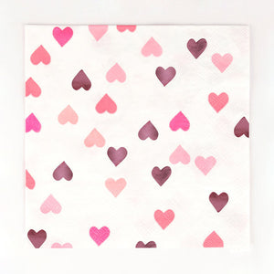 "16 pink heart paper napkins, designed by My Little Day.  These napkins are perfect for a princess or fairy-themed birthday or Valentine's Day! Also great for a baby shower, an engagement party or a wedding!  One thing is for sure - these napkins will make you see ""la vie en rose""...  Size: 6.49"" x 6.49"" (folded).  Please note: the napkins are only printed on one side."