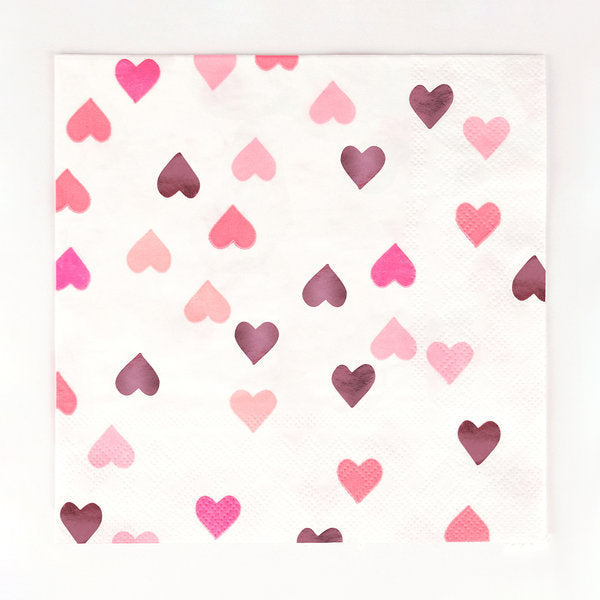 16 pink heart paper napkins, designed by My Little Day.  These napkins are perfect for a princess or fairy-themed birthday or Valentine's Day! Also great for a baby shower, an engagement party or a wedding!  One thing is for sure - these napkins will make you see