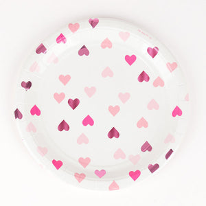 8 pink foiled heart paper plates, designed by My Little Day.  These plates are perfect for a princess or fairy-themed birthday or Valentine's Day! Also great for a baby shower, an engagement party or a wedding!  Size: 9 inches