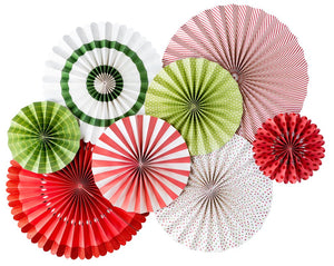 "These Party Fans are the perfect party decor for your holiday party!  Includes all 8 fans pictured. 2 - 17"", 2 - 14"", 2 - 11"" and 2 - 8"" fans.  Double-sided."