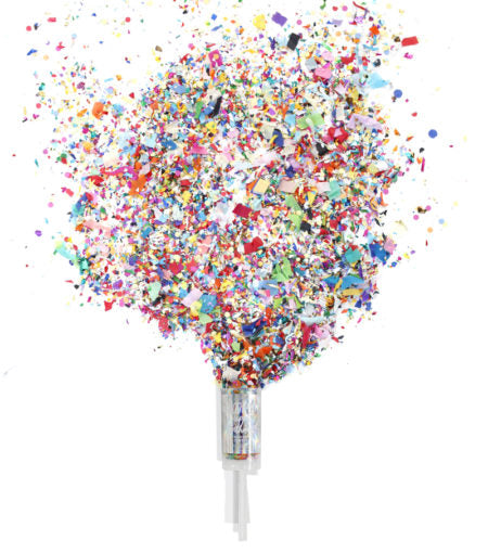 "Dazzle the world in confetti with the Push-Pop Confetti®! This super, fun holographic label is hand-lettered with the phrase ""Hooray! Happy Birthday."" It's the perfect gift to celebrate yourself or someone celebrating a birthday! Simply serve it like a volleyball, and experience our colorful, hand-mixed confetti as it floats down around you!  • 1.5″ x 7.5″ (including handle) • Reusable, food-safe container • Hand-printed & packaged • a mix of hand-cut paper shapes & metallic foil shapes • Packaging features"