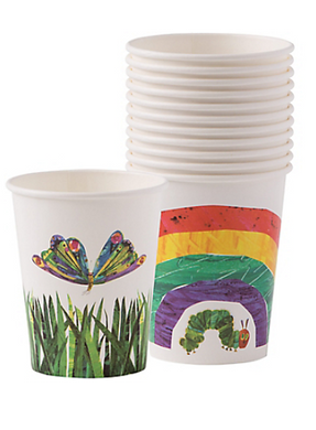 Our colourful rainbow illustrated Hungry Caterpillar themed party cups are the perfect addition to a jolly Caterpillar party.  Each pack comes with 12 paper cups featuring a colourful rainbow, cute hungry caterpillar, or a bright multi-coloured butterfly, also featuring a vibrant green grass print.   Contains: 12 paper cups in 2 designs