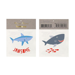 From party favors to little gifts, our temporary tattoos are sure to be a hit with big kids and small, whether it's a special occasion or just a way to pass the time on a rainy afternoon. Easy to apply and gentle on the skin, this pack contains transfer instructions and two fearsome shark tattoos in brilliantly bright colors.  Pack of 2 sheets Temporary