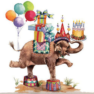 "This happy elephant has it all for a great celebration! Colorful and whimsical design perfect for a Birthday or childrens party. Printed on luxury paper napkins. Package of 20 Napkins 6.5"" x 6.5"" folded, 13"" x 13"" open Strong 3-Ply soft paper Printed in Germany"