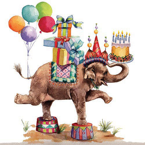 This happy elephant has it all for a great celebration! Colorful and whimsical design perfect for a Birthday or childrens party. Printed on luxury paper napkins. Package of 20 Napkins 6.5