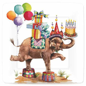This happy elephant has it all for a great celebration! Colorful and whimsical design perfect for a Birthday or childrens party.  7″ Square Appetizer/Dessert Paper Plate 8 plates per pack shrink-wrapped Heavy coated buffet-weight Made in USA