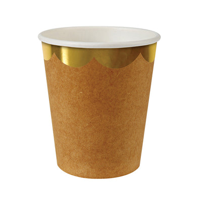 If you're planning a party and want your space to have an elegant, rustic feel to it, then you'll definitely need to look into our Kraft collection. Perfect for Thanksgiving! Pack of 8 Suitable for hot & cold drinks Gold foil detail Size: 8 ounces