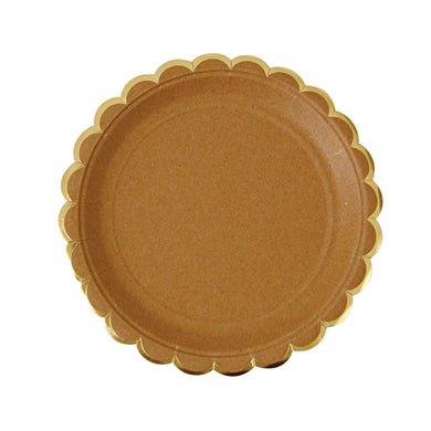 If you're planning a party and want your space to have an elegant, rustic feel to it, then you'll definitely need to look into our Kraft collection. Perfect for your Thanksgiving dessert table!!  Pack of 8 Gold foil detail Size: 7