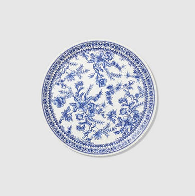 Bring the spirit of the French countryside to your next garden party with our floral toile large plates. And while the flowers on the classic toile pattern may appear delicate, the plates are anything but. Includes 10 plates.  9.25
