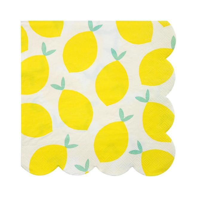 Create a fun fruity feeling with these bright party napkins. Decorated with a pattern of zesty lemons and finished with a scallop edge.   Large Pack of 20 approx size 6 1/2