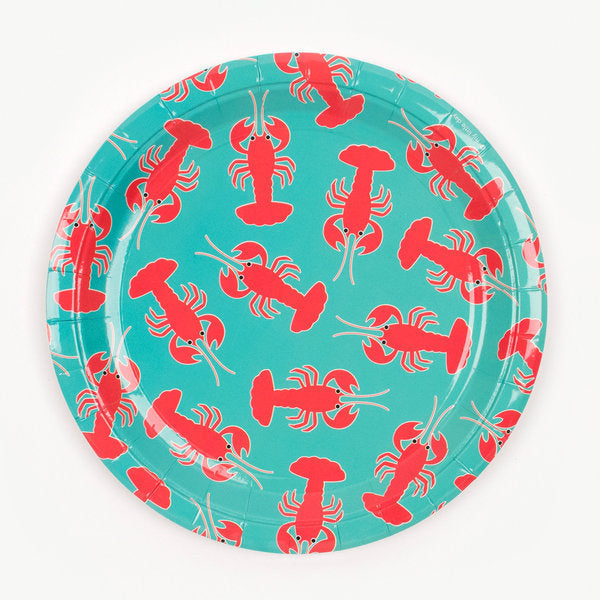 Super cute lobster plates, designed by My Little Day.  These plates are perfect for a summertime-themed birthday, a family BBQ or a garden party with friends!  Size: 9 in diameter.  Contains 8 plates.