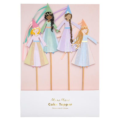 Transform a cake or cupcakes into works of wonder with our beautifully illustrated magical princess toppers with flowing ribbons.   Ribbon tassels Gold foil detail Pack of 4  Product Dimensions approx: 7 x 10 x 0.25 inches