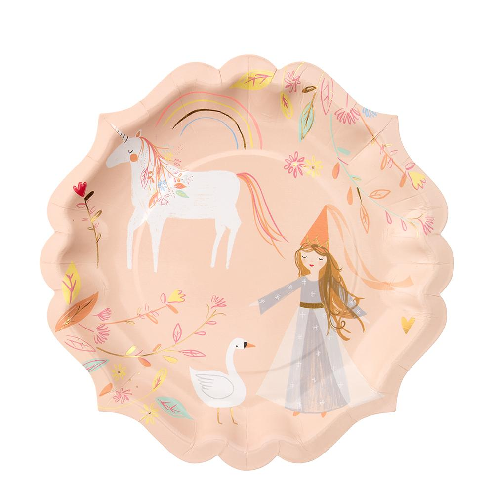 No princess party will be complete without these charming plates! Featuring beautiful illustrations of a pretty princess in her magical kingdom.   Scallop edge Neon print & gold foil detail Pack of 8  Product Dimensions: 9 x 9 inches