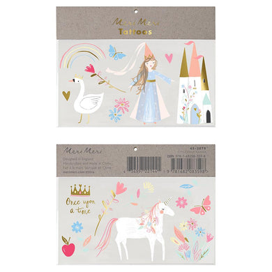 These pretty tattoos are perfect for a princess party or dressing-up time.   Temporary Neon print & gold foil detail Pack of 2