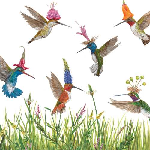 A garden full of fanciful hummingbirds from artist Vicki Sawyer. Her charming images of combining floral and animals are always a welcome addition to the home and a delight to bird lovers! Printed on luxury 3-ply paper napkins. Package of 20 Napkins 5