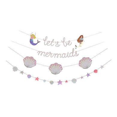 If your little one spends a large amount of her free time pretending to be under the sea, swimming around in a shell bikini with a beautiful shimmering tail, our Let's Be Mermaids collection is ideal for her birthday party! Create an undersea world with this beautiful mermaid garland featuring the words