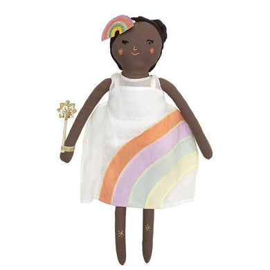 This is Mia, one of the Meri Meri classic fabric doll family. She's soft and huggable and little people will just love to take her on adventures. She's beautifully crafted from calico, with brown yarn hair and sweet embroidered features. Mia is stylishly outfitted in a pretty dress with a gorgeous rainbow embellishment, but she can easily be undressed and re-outfitted in any of our dress-up kits. Her hair is adorned with a glittery rainbow hair clip and she has a stunning sun wand.   Mia also comes with a d