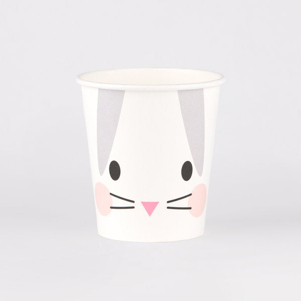 Super cute mini rabbit paper cups, designed by My Little Day.  These cups are perfect for a cute animals themed birthday or an Easter party!  Size: 7 ounces Contains 8 cups.