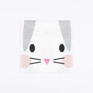 Super cute mini rabbit paper napkins, designed by My Little Day.  These napkins are perfect for a cute animals themed birthday or an Easter party!  Size: 5