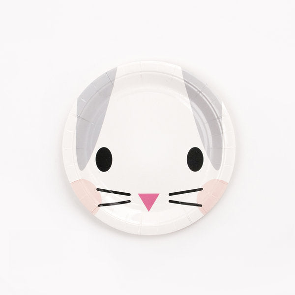 Super cute mini rabbit paper plates, designed by My Little Day.  These plates are perfect for a cute animals themed birthday or an Easter party!  Size: 19cm in diameter.  Contains 7.48