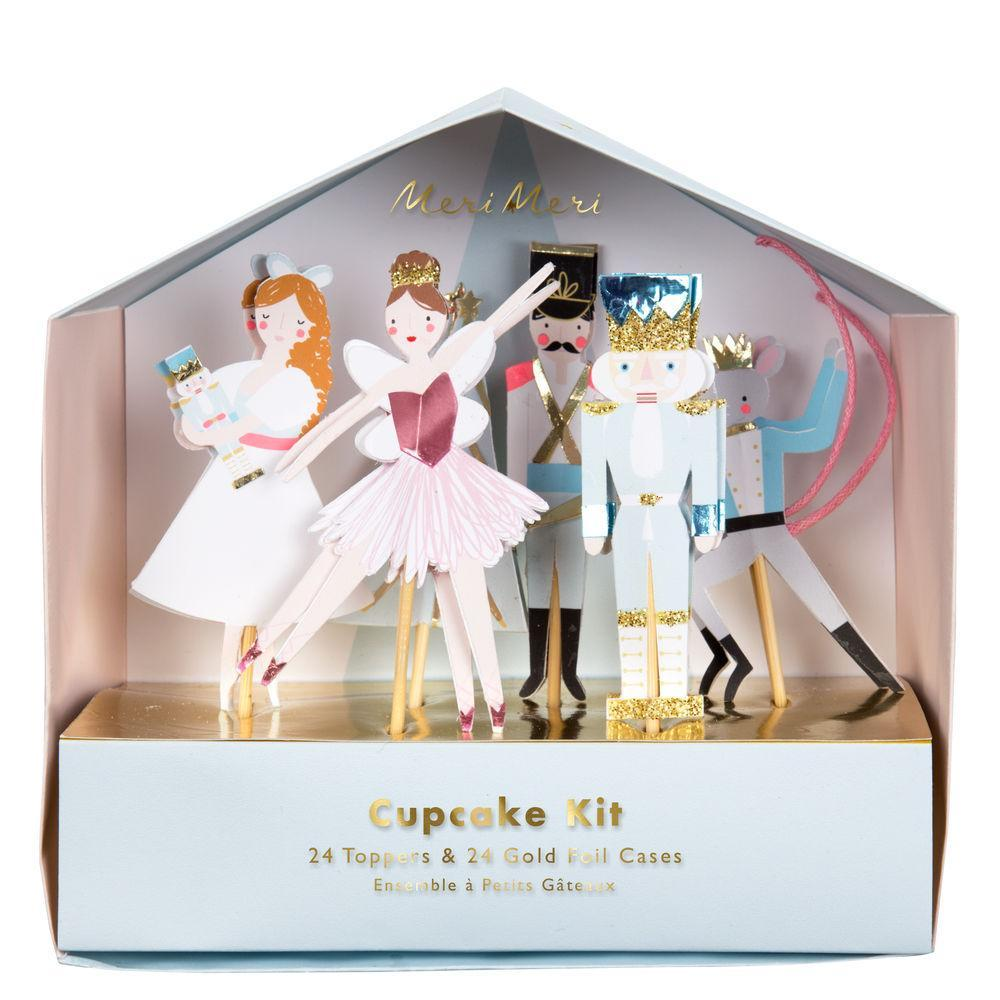 Bring the essence of the sweet Nutcracker story into your holiday party with this beautiful cupcake kit.   Pack of 24 cases in 2 designs 24 nutcracker toppers Glitter & foil detail