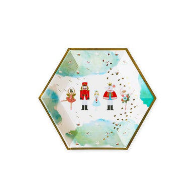 "Festive, joyful and sturdy paper plates in the evergreen Nutcracker theme! Perfect for all types of holiday celebrations, featuring classic characters and lovely ballerinas with beautiful hand-illustrated and gold foil details.   Plates measure 10"" across corner to corner, and are packaged in sets of 8. Not microwave-safe."