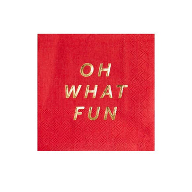Classic with a twist! Put those boring party napkins aside and serve your guests with our cool 'Oh What Fun' beverage napkins. Traditional yet vibrant, these napkins will easily take center stage at your holiday party!  Colors: Red, gold foil Cocktail napkins Paper Approx. 5
