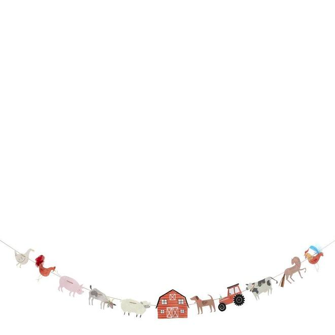 Children who adore farm visits will absolutely love this On the Farm large garland at their birthday party (and it will look great as a decoration in their room afterwards too!). Beautifully illustrated and crafted with eleven farmyard-themed pennants, including a tractor and lots of adorable farm animals. Pre-strung on natural twine so it is easy to hang.   11 farm-themed pennants Pre-strung on natural twine Feather & raffia with silver foil detail Product length: 6 ft