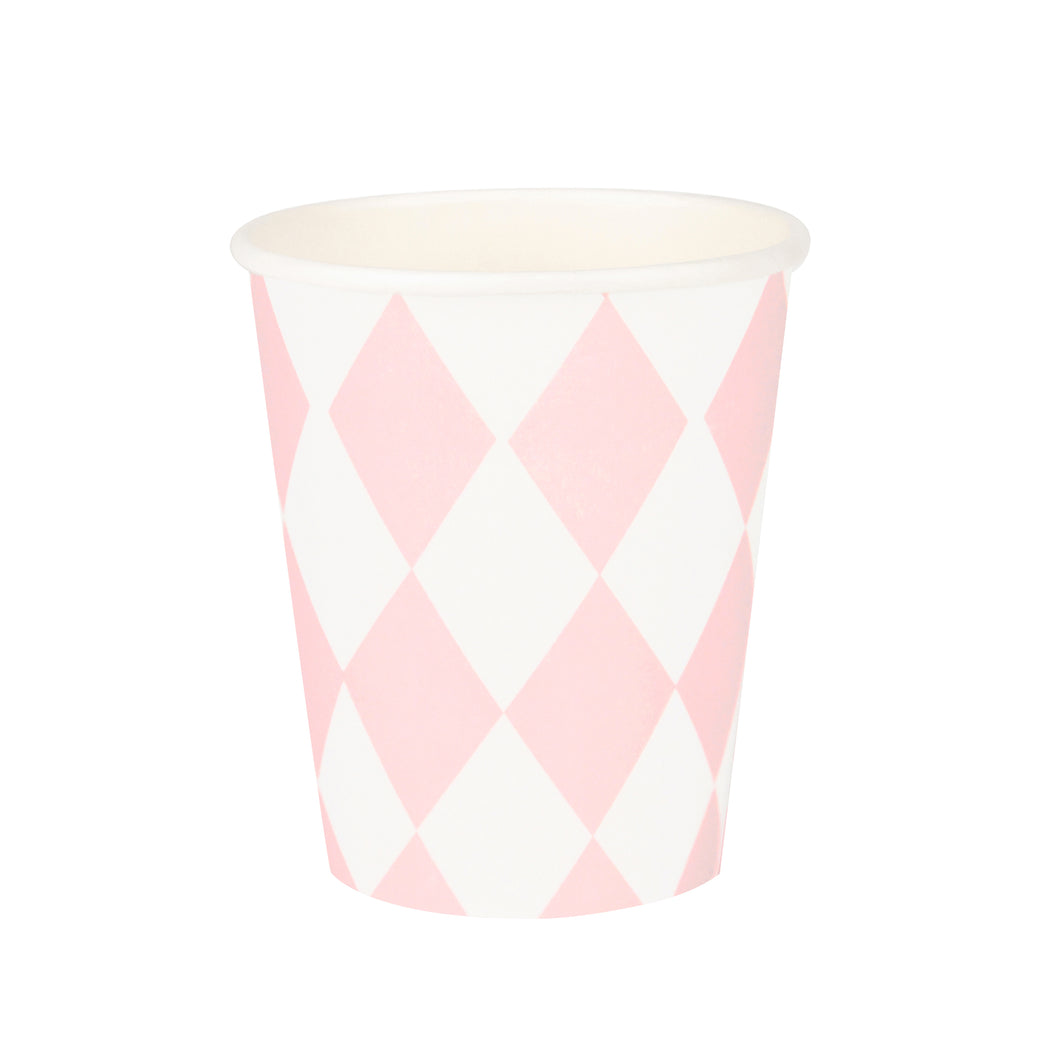 8 paper cups with baby pink diamonds for a birthday party, a wedding, baby shower or a chic and girly picnic!  Cups have a height of 3 1/2