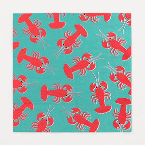 "Super cute lobster napkins, designed by My Little Day.  These napkins are perfect for an aquatic or mermaid-themed birthday, a family BBQ or a garden party with friends!  Size: 6.5"" x 6.5"".  Please note: the napkins are only printed on one side.  Contains 20 napkins."