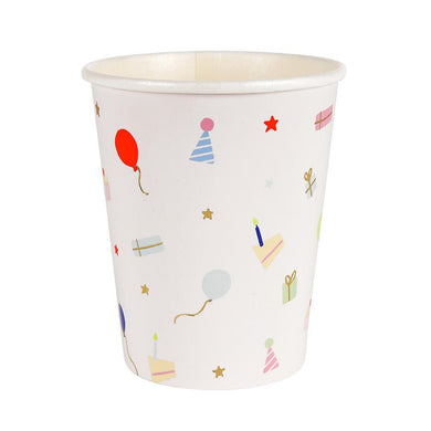 If you're hosting a children's party, you can't go wrong with a generous splash of colour! That's why these cups are perfect, featuring a delightful pattern of party items, including hats, balloons and gifts, all in brilliant neon colours with gold foil details.   Pack of 8 Suitable for hot & cold drinks  Neon print & gold foil detail Size: 8 oz. capacity