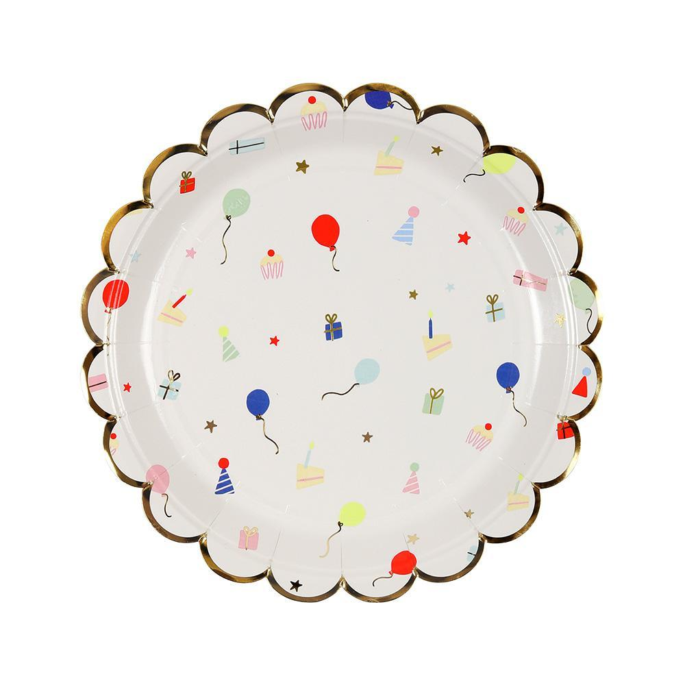 Patterned with lots of party favorites including cakes, gifts, balloons and hats, these delightful paper plates are embellished with shiny gold foil and finished with a scallop edge.   Small Pack of 8 Neon print & gold foil detail Size: 7