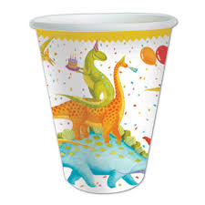 "These dinosaurs are ready to party! Designed by Ingrid Slyder - Nutshell Design, teh party cups  features dinosaurs partying along with balloons and cake! 8 per package  made in the USA  9oz. Capacity, 3.75""H x 3"" Diam."