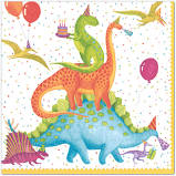 "These dinosaurs are ready to party! Designed by Ingrid Slyder - Nutshell Design, these party napkins feature dinosaurs partying along with balloons and cake!  Triple-ply material offers convenience and durability.  Printed in Germany using non-toxic, water soluble dyes.  20 Cocktail Napkins per Package  5"" x 5"" napkin, 10"" x 10"" when open."