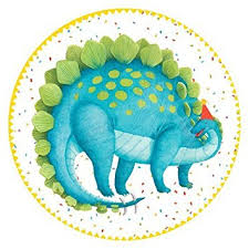 "These dinosaurs are ready to party! Designed by Ingrid Slyder - Nutshell Design, these party plates feature dinosaurs partying along with balloons and cake!  Each durable paper plate is printed in the USA.  Made using water based dyes and high-quality paper board  8 Paper Plates per Pack  8"" Diameter"