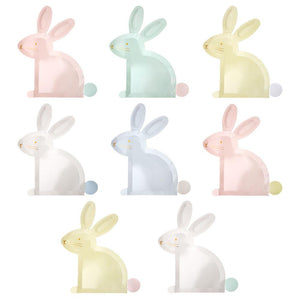 "Our beautiful pastel bunny plates are perfect to add a little extra Easter spirit to the table, or add a touch of fun at any Springtime party. They come in 4 delightful colors with gorgeous gold foil detail.  Printed both sides Gold foil detail Acetate box 4 Colors Pack of 8 Product dimensions: 9.25"" x 10"""