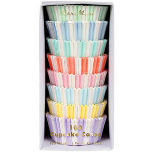 Pack of 100 pastel stripe cupcake cases!  colors include: pink,purple, green, yellow, blue and orange