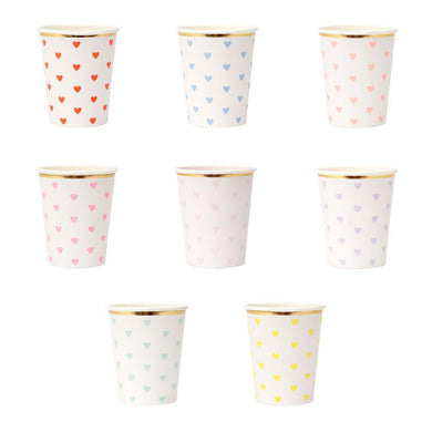 These gorgeous cups featuring colorful hearts, with a shiny gold foil border, will look brilliant at a Valentine's Day party or whenever you want a romantic theme.  Suitable for hot and cold drinks Neon print and gold foil detail Pack of 8