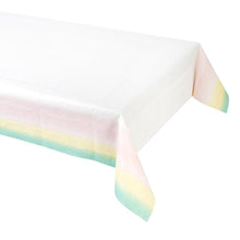 "For the perfect pink party, lay your table with this fun pink ombre paper table cover by Talking Tables. Ideal for kids parties, hen dos and more!  Sized approx: 70"" x 47""."