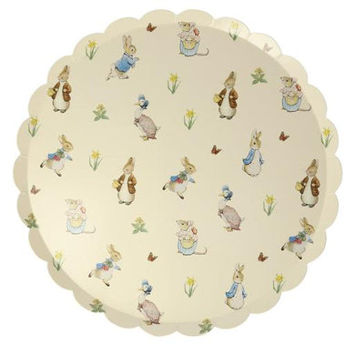 Guests of all ages will be charmed by these delightful plates featuring Beatrix Potter's cheeky Peter Rabbit and Friends. Designed with stylish scallop edges, they will look just perfect at any birthday party, baby shower or special celebration.   Scallop edge Printed both sides Pack of 12 Product dimensions: 10.25 x 10.25 inches